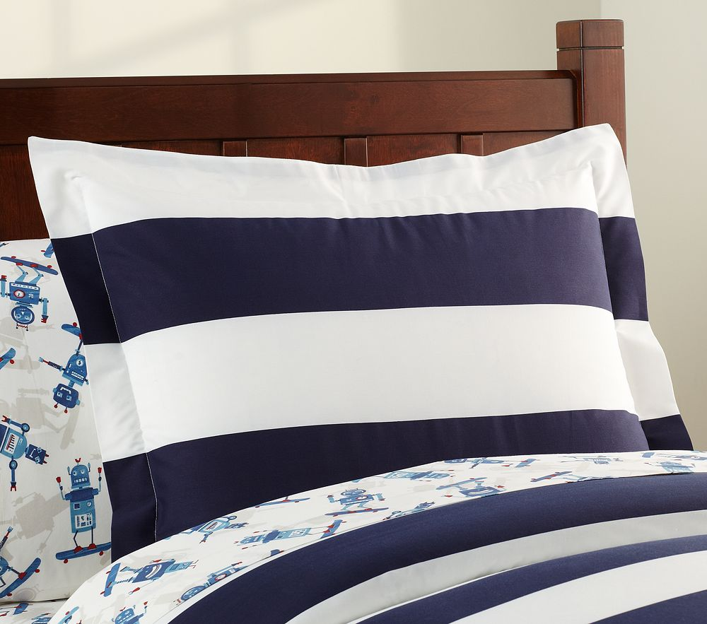 Rugby Stripe Quilt Cover Blue Pottery Barn Kids
