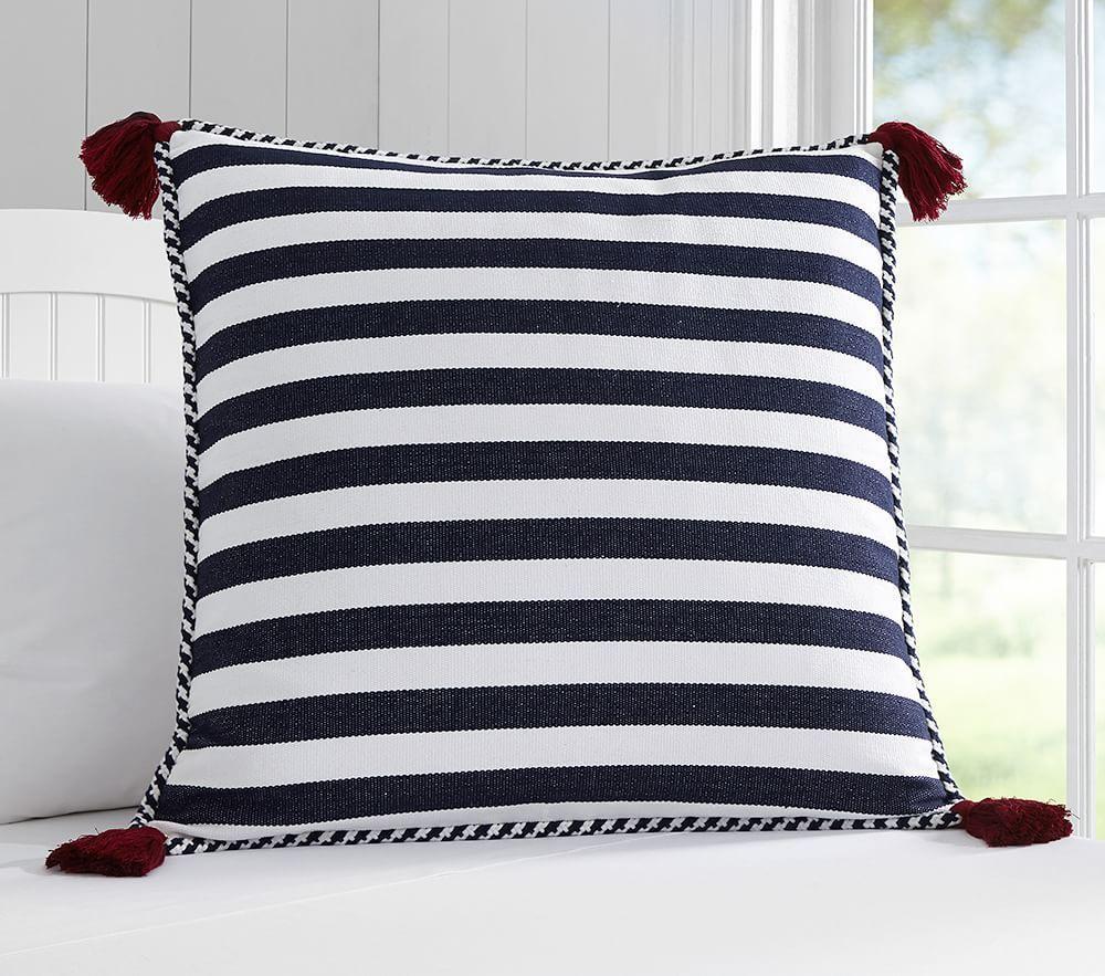Large Stripe Tassel Cushion Cover Pottery Barn Kids