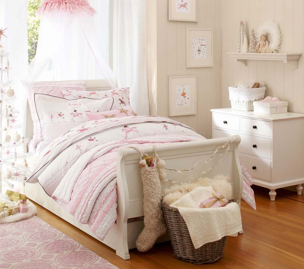 Brigette ruffle quilted bedding pink pottery barn kids for Pottery barn kids rooms
