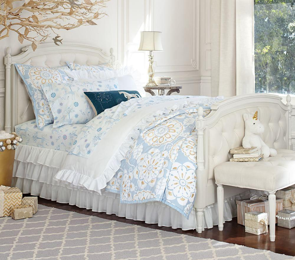 Pottery Barn Girls Bedrooms Tufted Bed