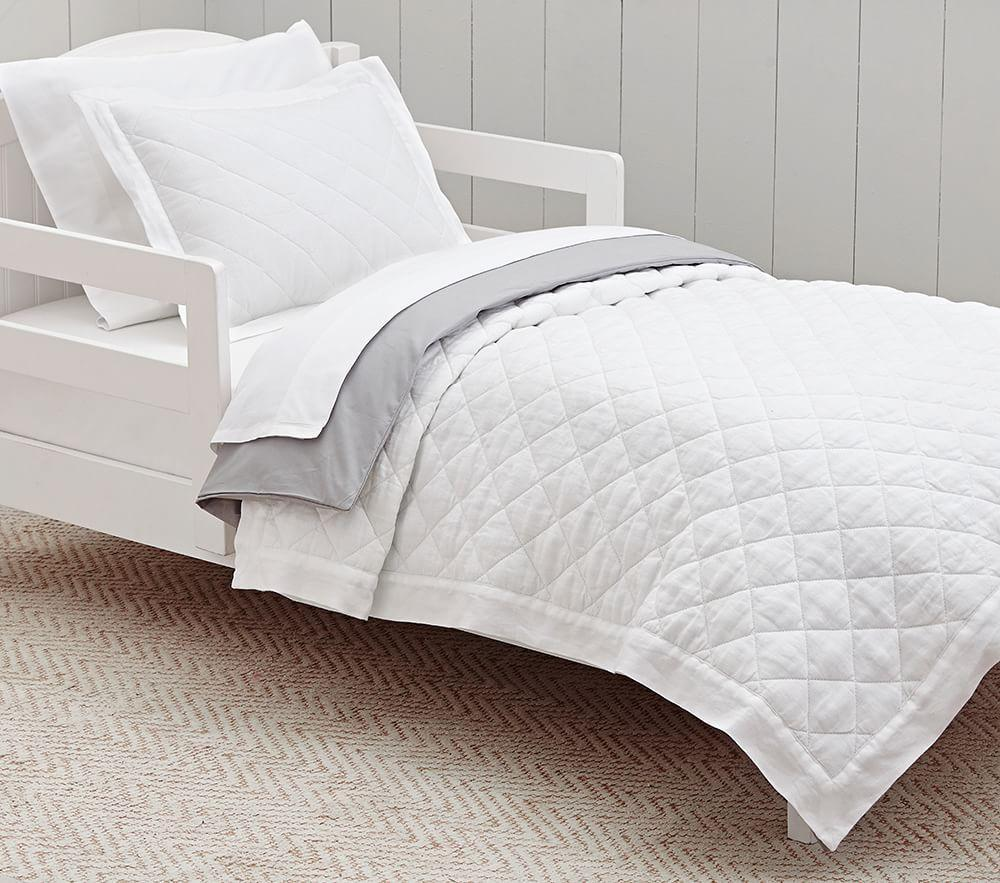 Belgian Linen Toddler Bedding White Pottery Barn Kids