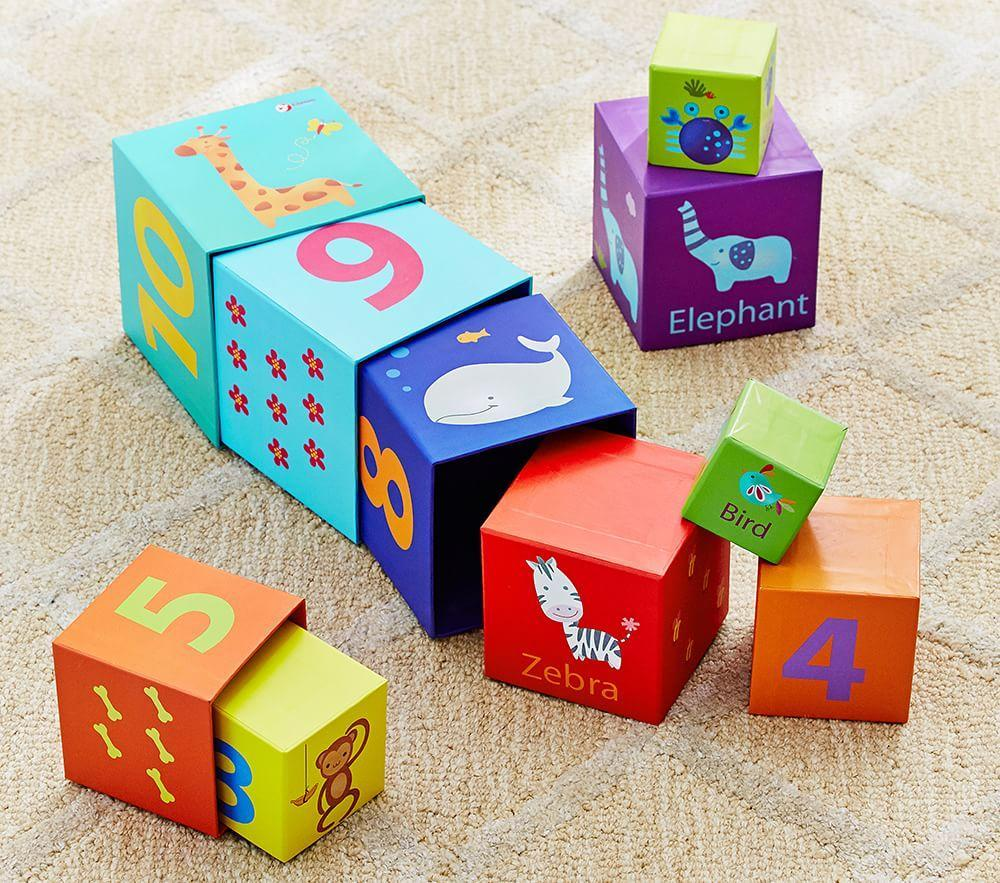 Animals And Numbers Stacking Cubes Pottery Barn Kids
