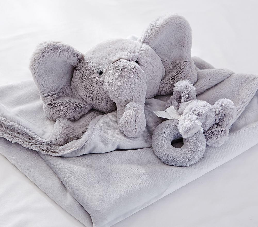 Elephant Plush Security Blanket & Rattle