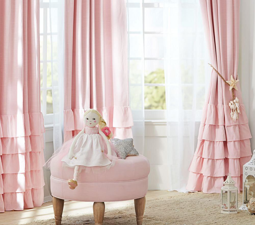 Evelyn Linen Blend Ruffle Bottom Blackout Curtain