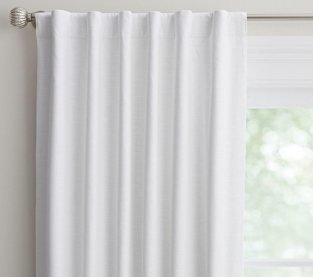 Evelyn Linen Blend Ruffle Bottom Blackout Curtain