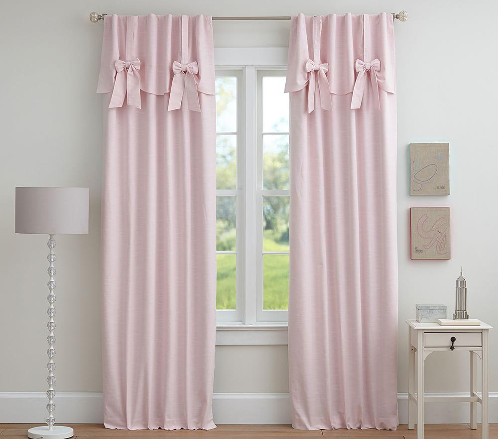 Evelyn Linen Blend Bow Valance Blackout Curtain Pottery