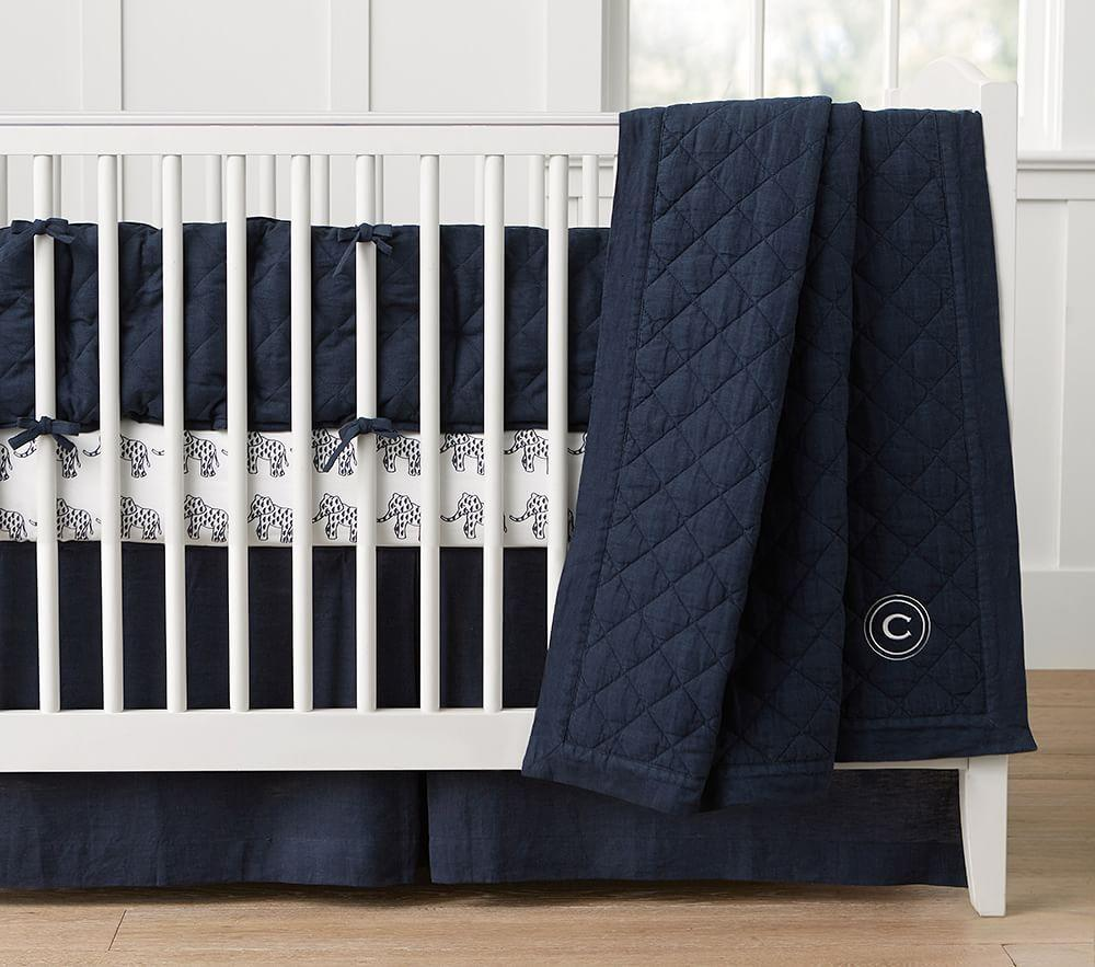 Navy Blue And Pink Crib Bedding
