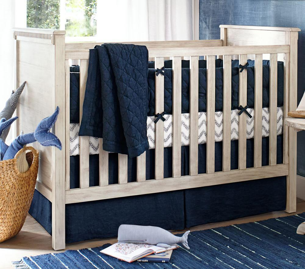 Belgian Linen Nursery Bedding Navy Pottery Barn Kids Au