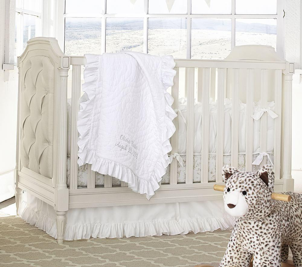 Baby cribs pottery barn - Ruffle Collection Nursery Bedding White