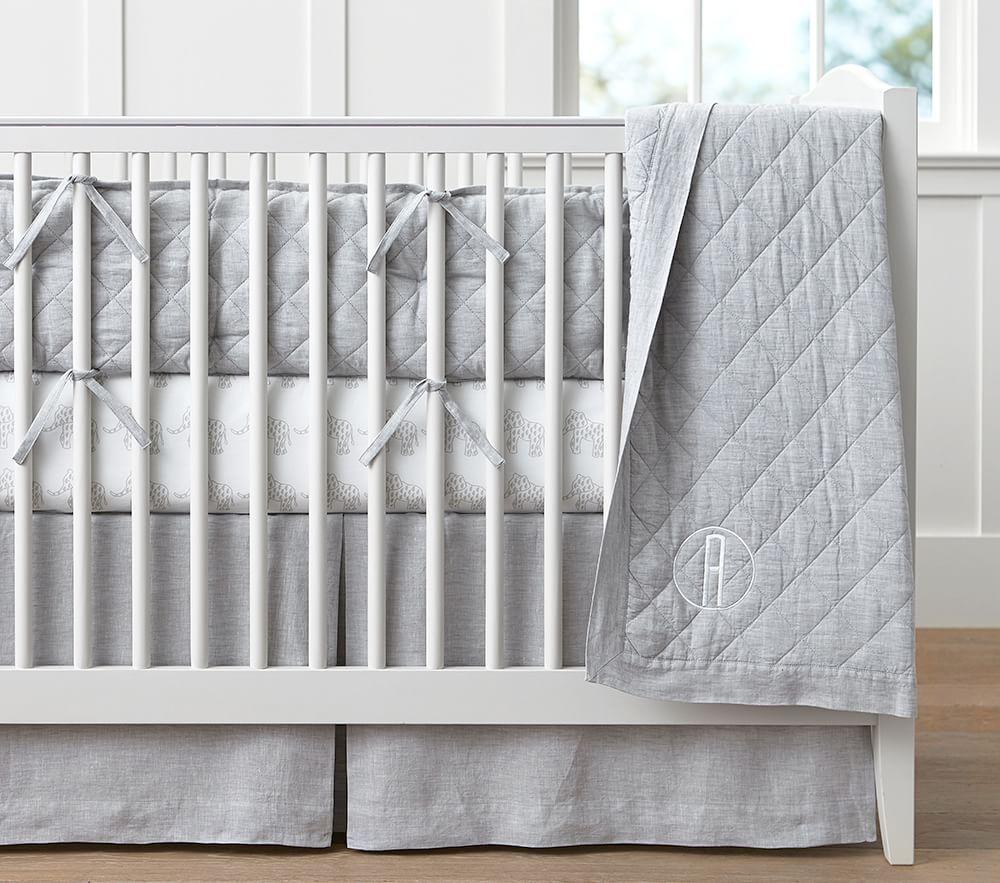 Linen Nursery Bedding - Grey