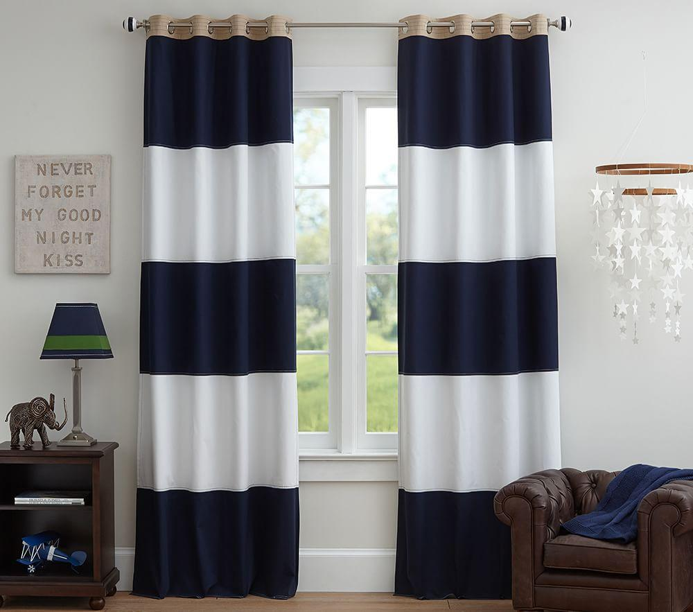 rugby blackout curtain navy white pottery barn kids. Black Bedroom Furniture Sets. Home Design Ideas