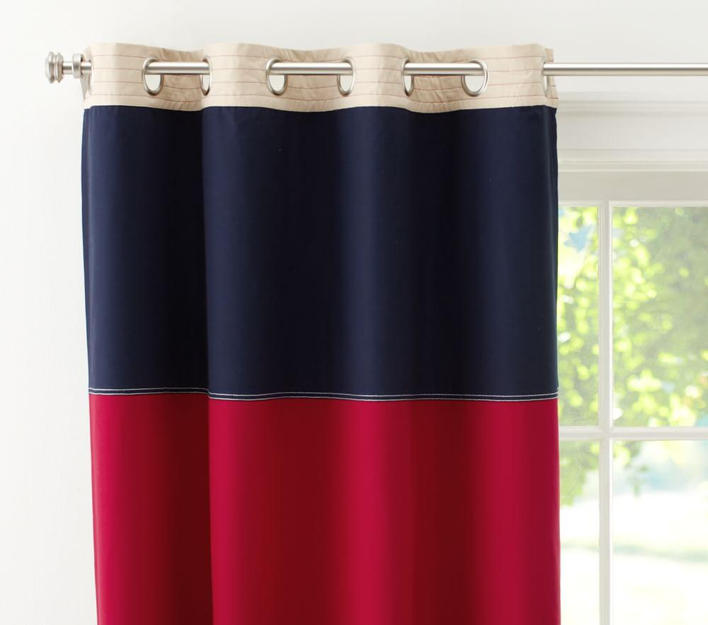 Rugby Blackout Curtain Navy Red Pottery Barn Kids Au