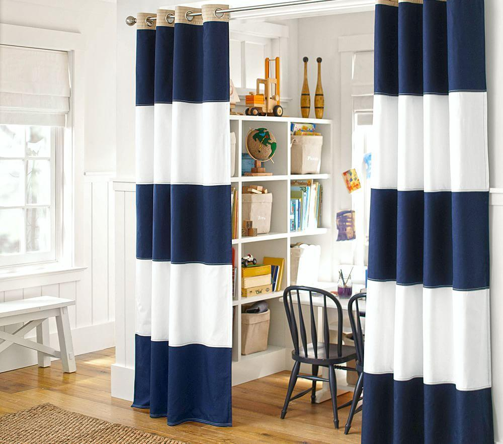 Rugby Blackout Curtain Navy White Pottery Barn Kids