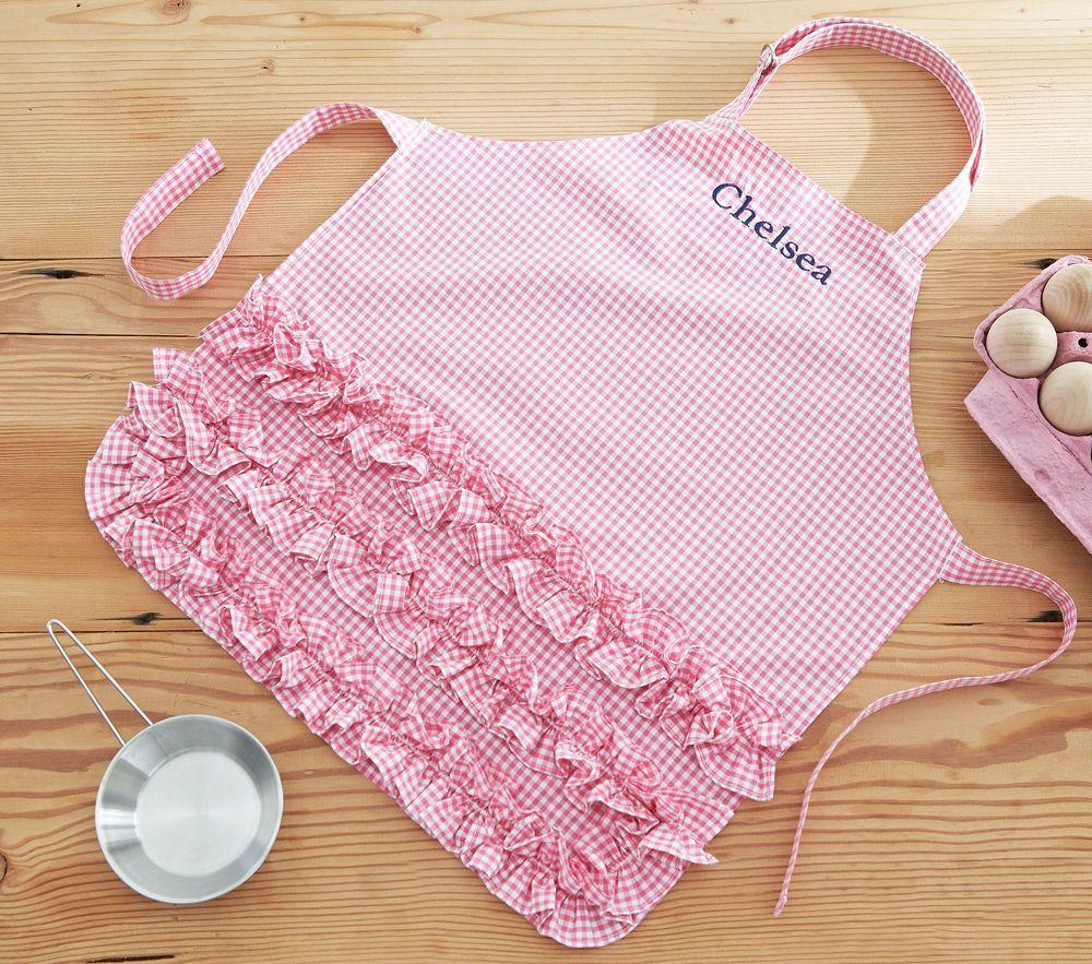 Pink Ruffle Gingham Apron