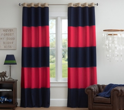 Rugby Blackout Curtain, Navy/Red