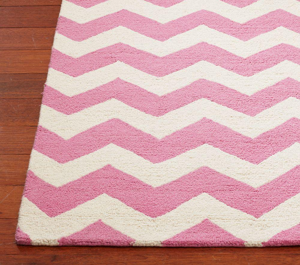 Chevron Wool Rug Pink