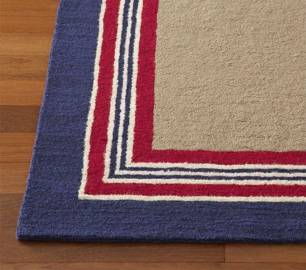 Tailored striped rug navy red for Red and navy rug