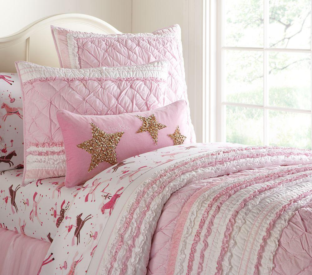 Brigette Ruffle Comforter Pink Pottery Barn Kids Au