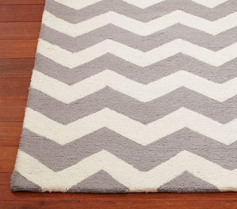 Chevron Wool Rug, Gray