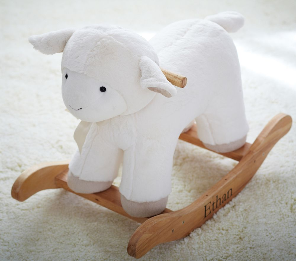Lamb plush rocker for Personalized kids soft chairs
