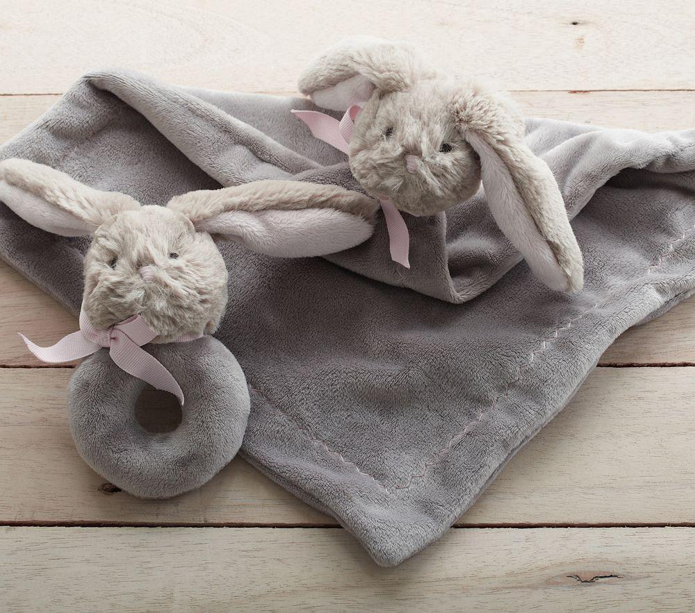 Bunny Plush Security Blanket & Rattle
