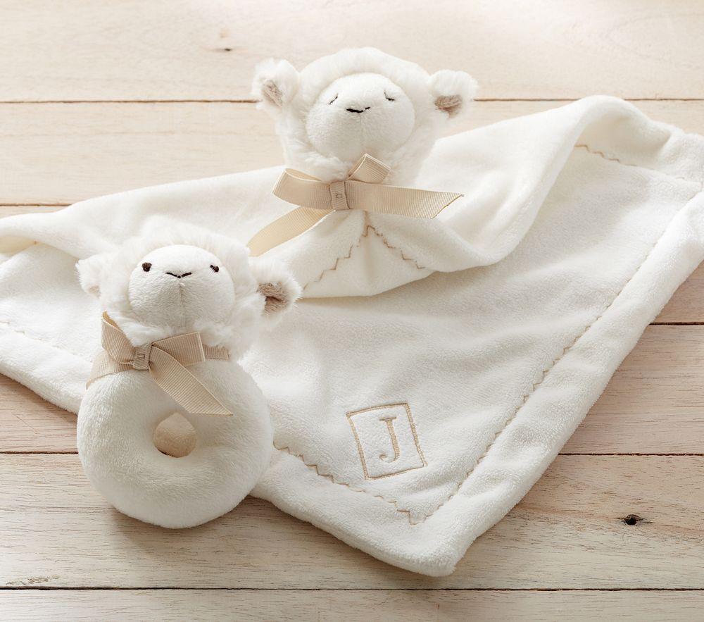 Lamb Plush Security Blanket & Rattle