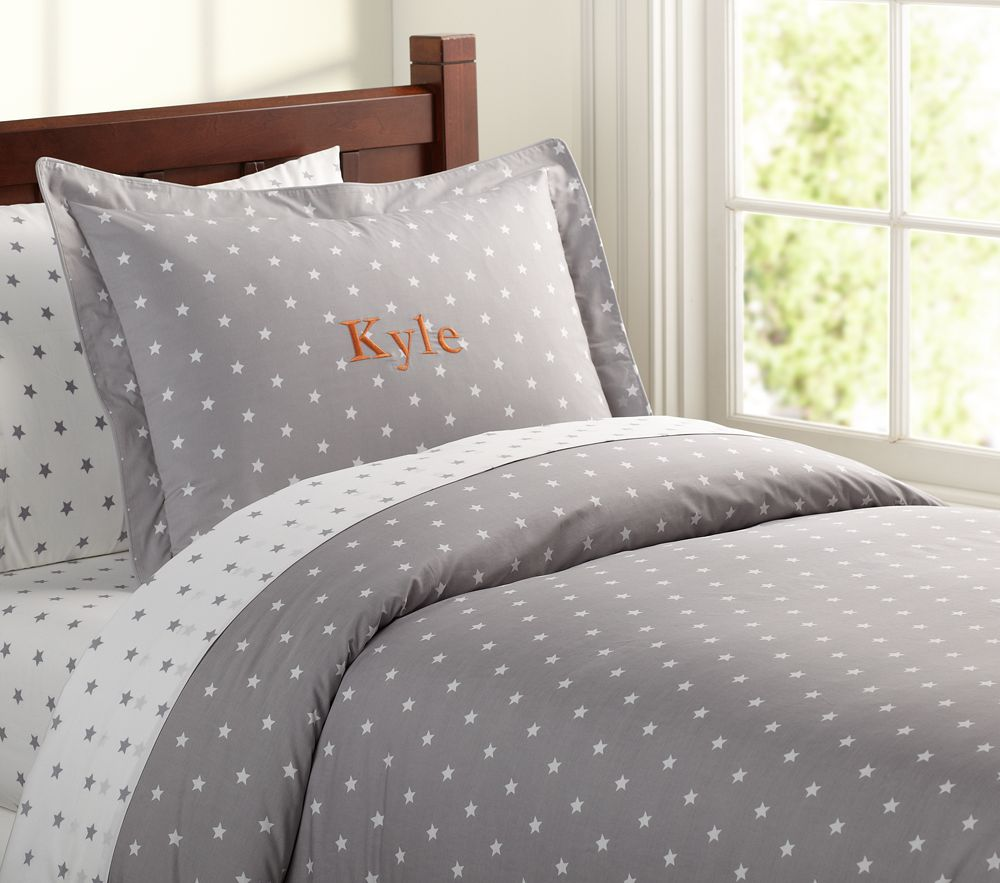 Organic Star Quilt Cover Grey Pottery Barn Kids Au