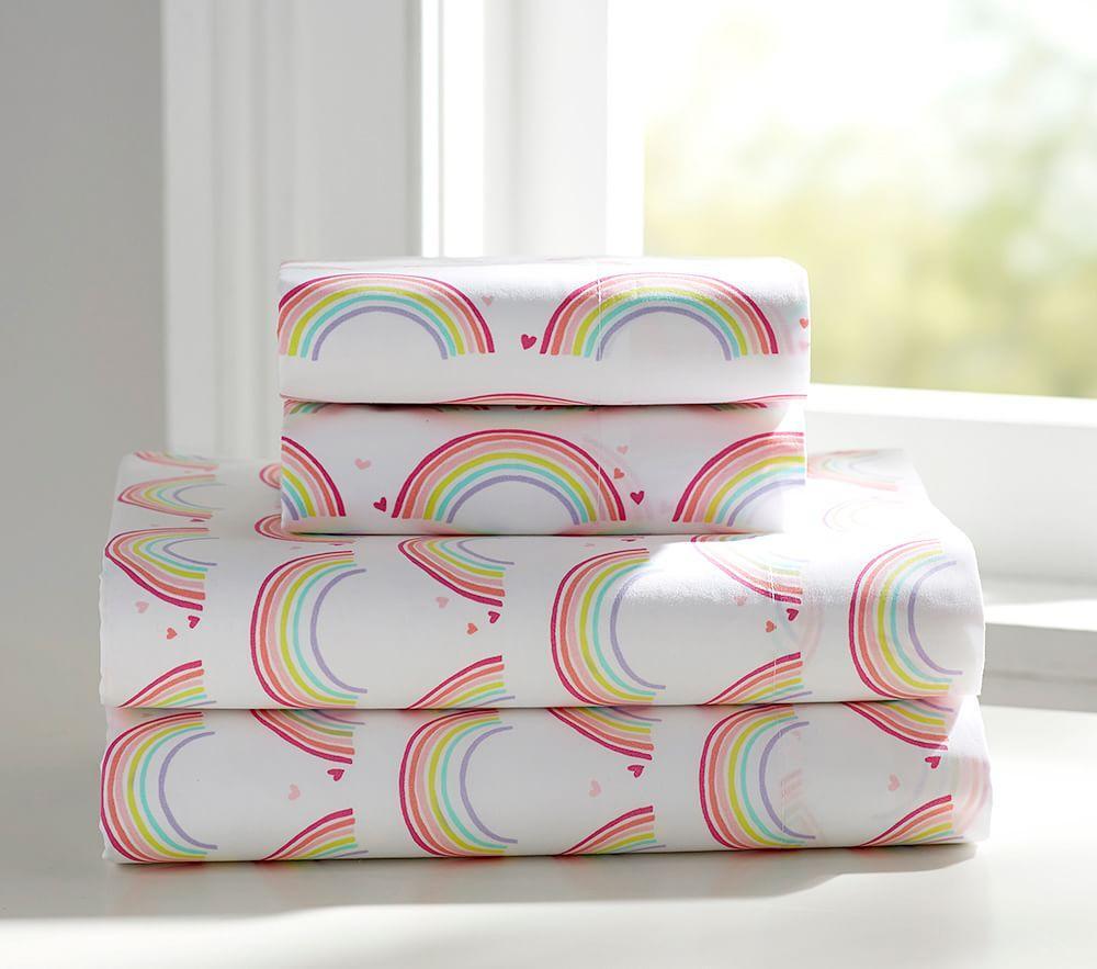Pottery Barn Kids Rainbow Clock: Organic Rainbow Sheet Set