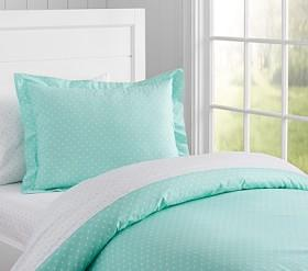 Organic Pin Dot Quilt Cover, Aqua