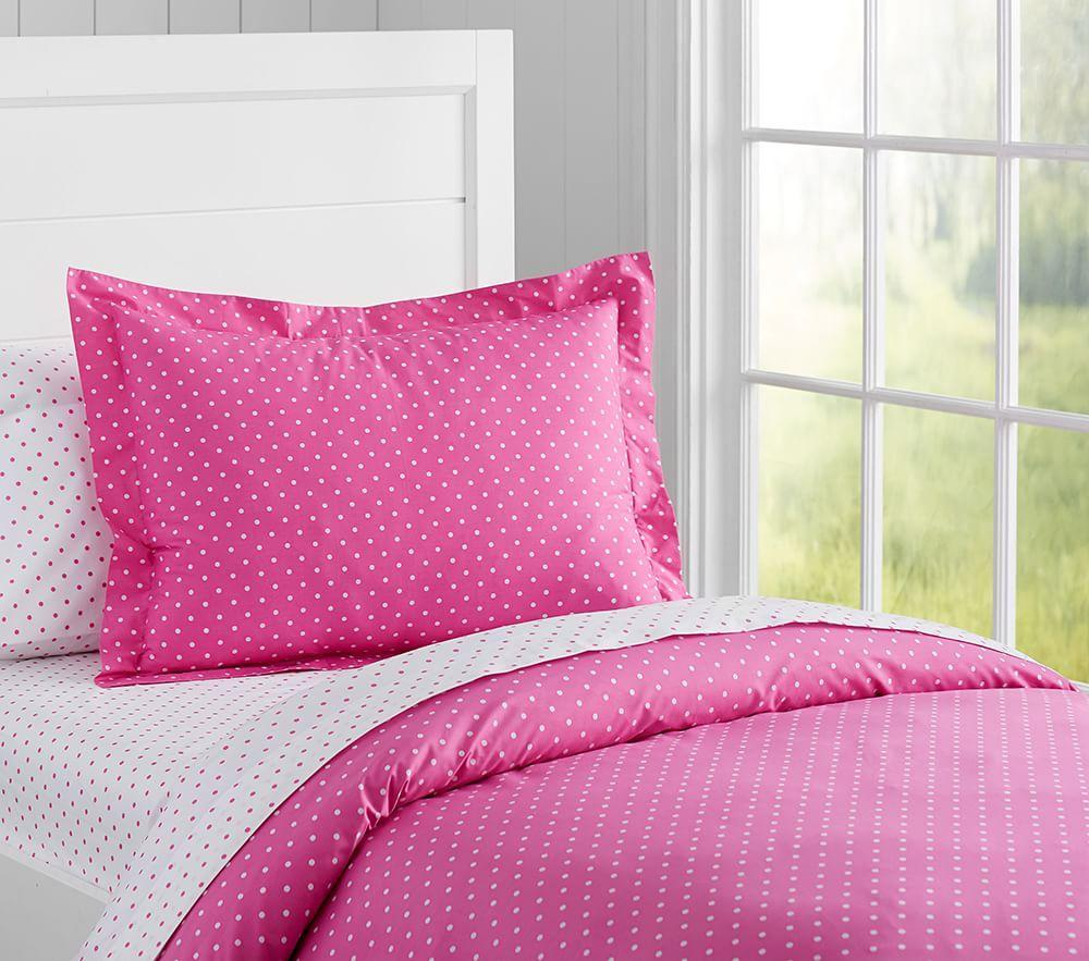 Organic Pin Dot Quilt Cover Bright Pink Pottery Barn