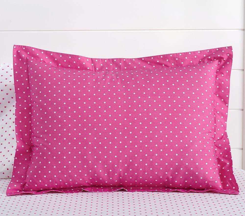 Organic Pin Dot Quilt Cover, Bright Pink