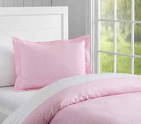 Organic Pin Dot Quilt Cover, Pale Pink