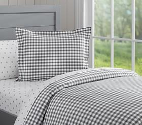 Organic Check Quilt Cover - Charcoal
