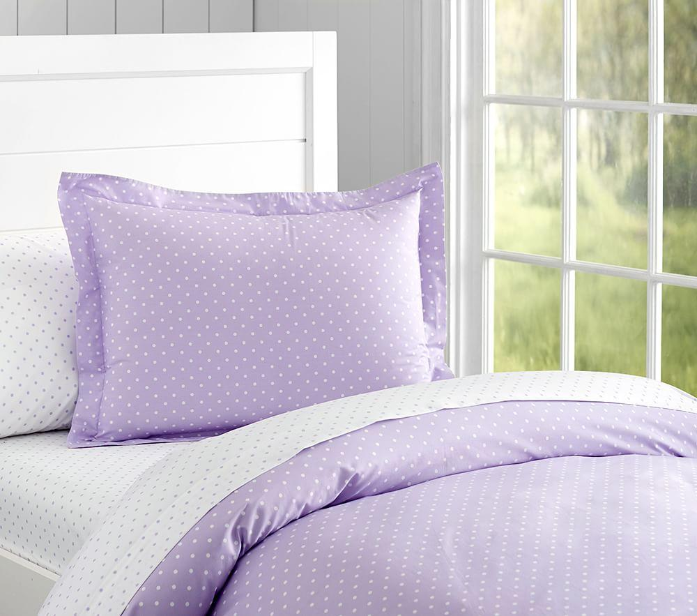 Organic Pin Dot Quilt Cover, Lavender