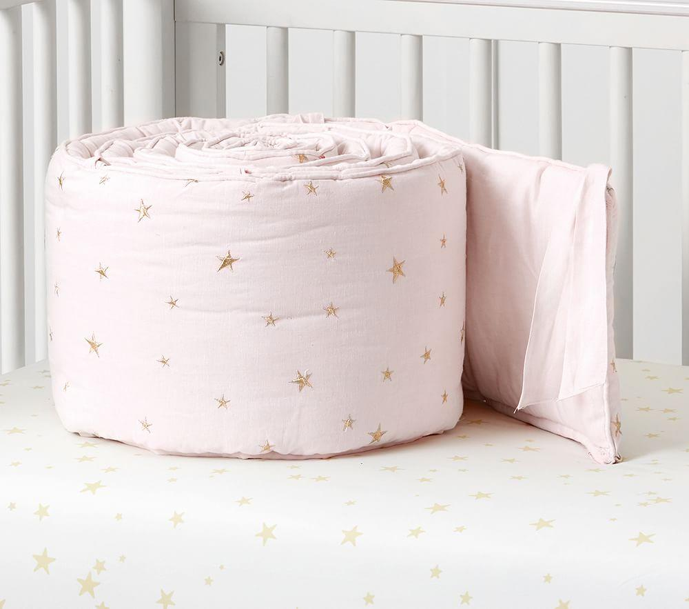 Organic Emily & Meritt Stars Nursery Bedding, Light Pink