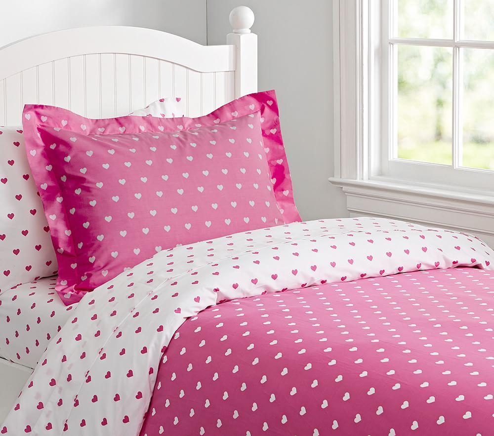 Heart Reversible Quilt Cover Bright Pink Pottery Barn Kids