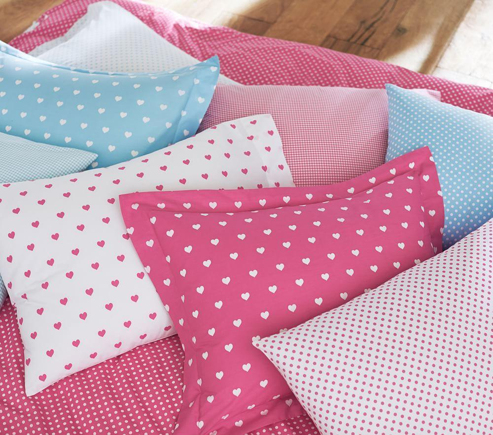 Heart Reversible Quilt Cover, Bright Pink