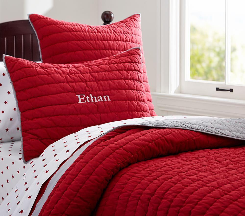 Branson Comforter, Red/Grey