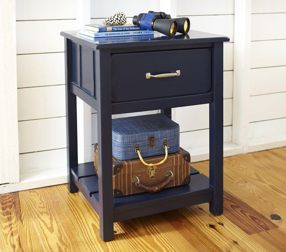 Camp Bedside Table Navy Pottery Barn Kids