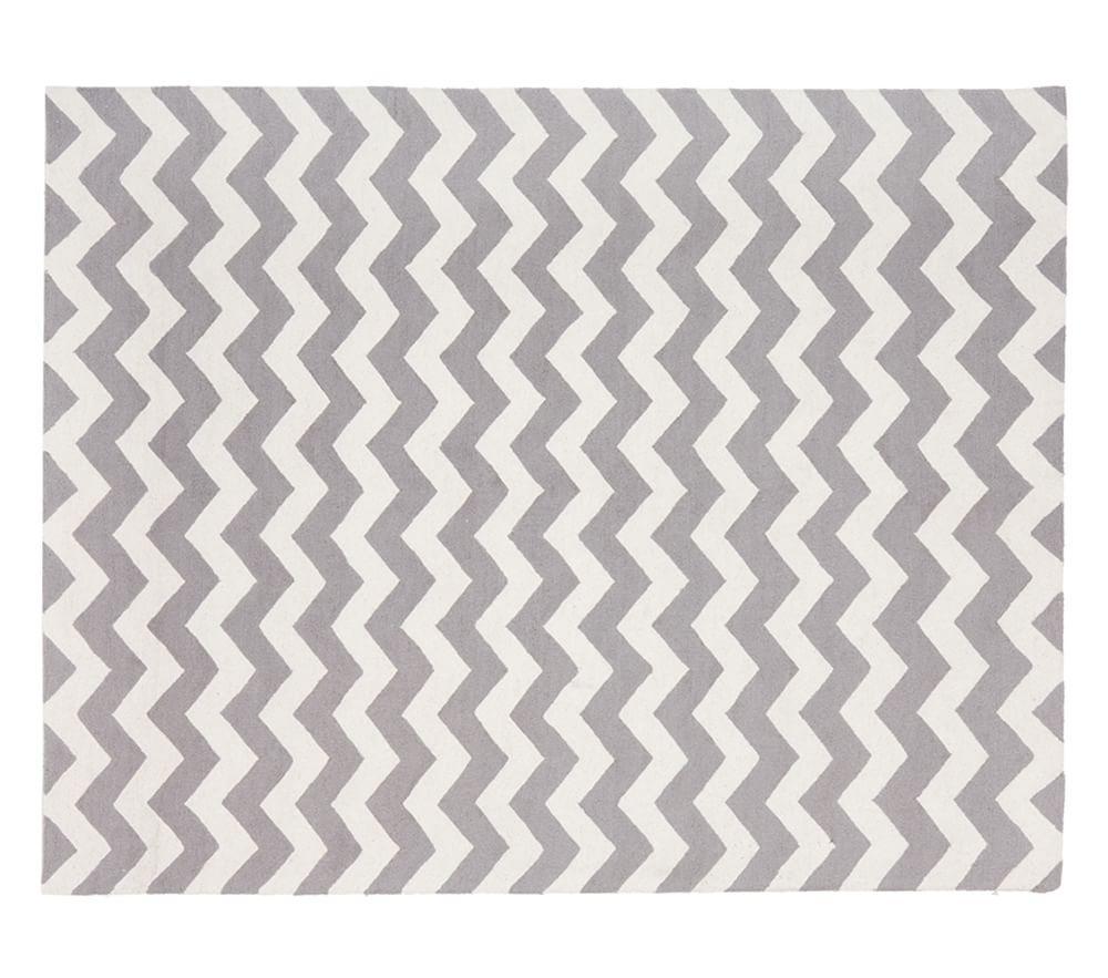 Chevron Wool Rug Gray
