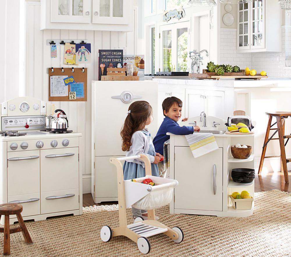 Pottery Barn Kids Toy Kitchen Set: Simply White Retro Kitchen Collection