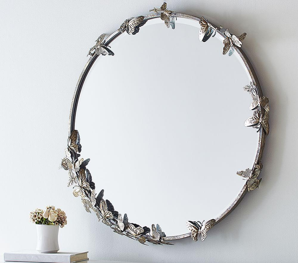 Monique Lhuillier Round Butterfly Mirror Pottery Barn