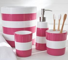 Pink Stripe Bath Accessories