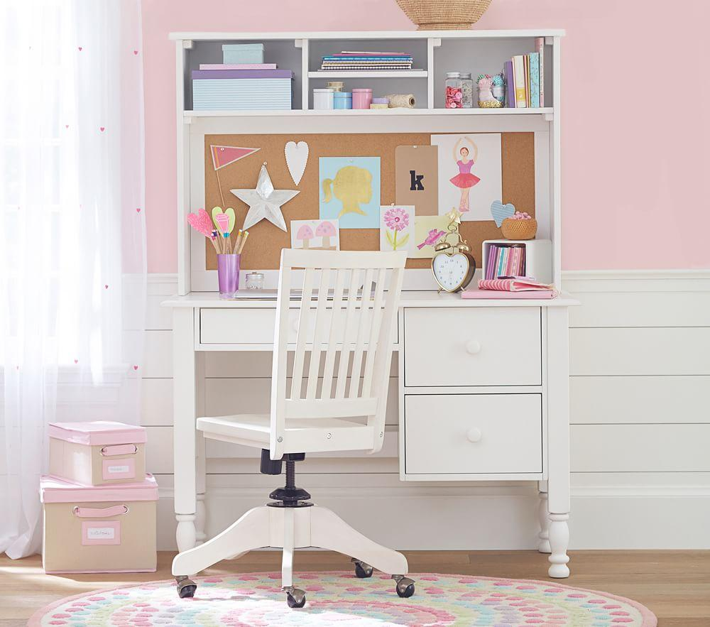 Catalina Storage Desk & Large Hutch - Simply White