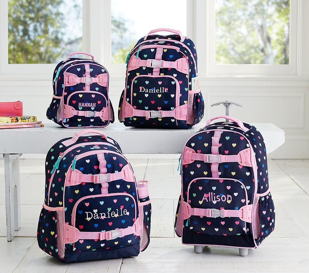 Mackenzie Navy Multicolour Heart Backpack Pottery Barn Kids