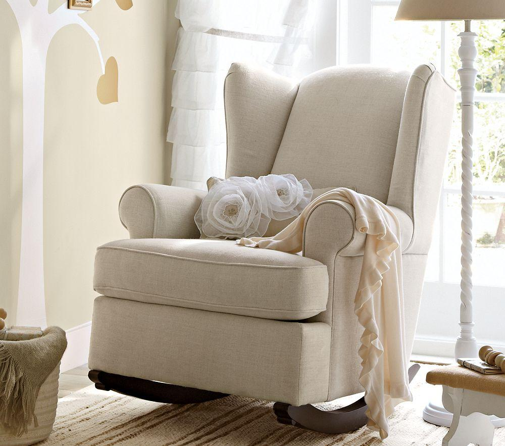 Wingback Rocker and Ottoman, Nursery Rocking Chair, Nursery Chair ...