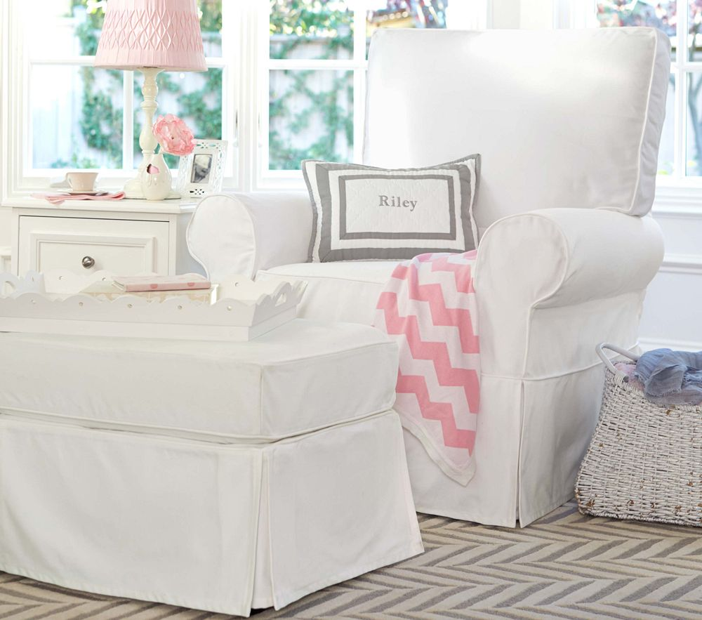 Slipcovered Comfort Swivel Rocker Amp Ottoman Nursery