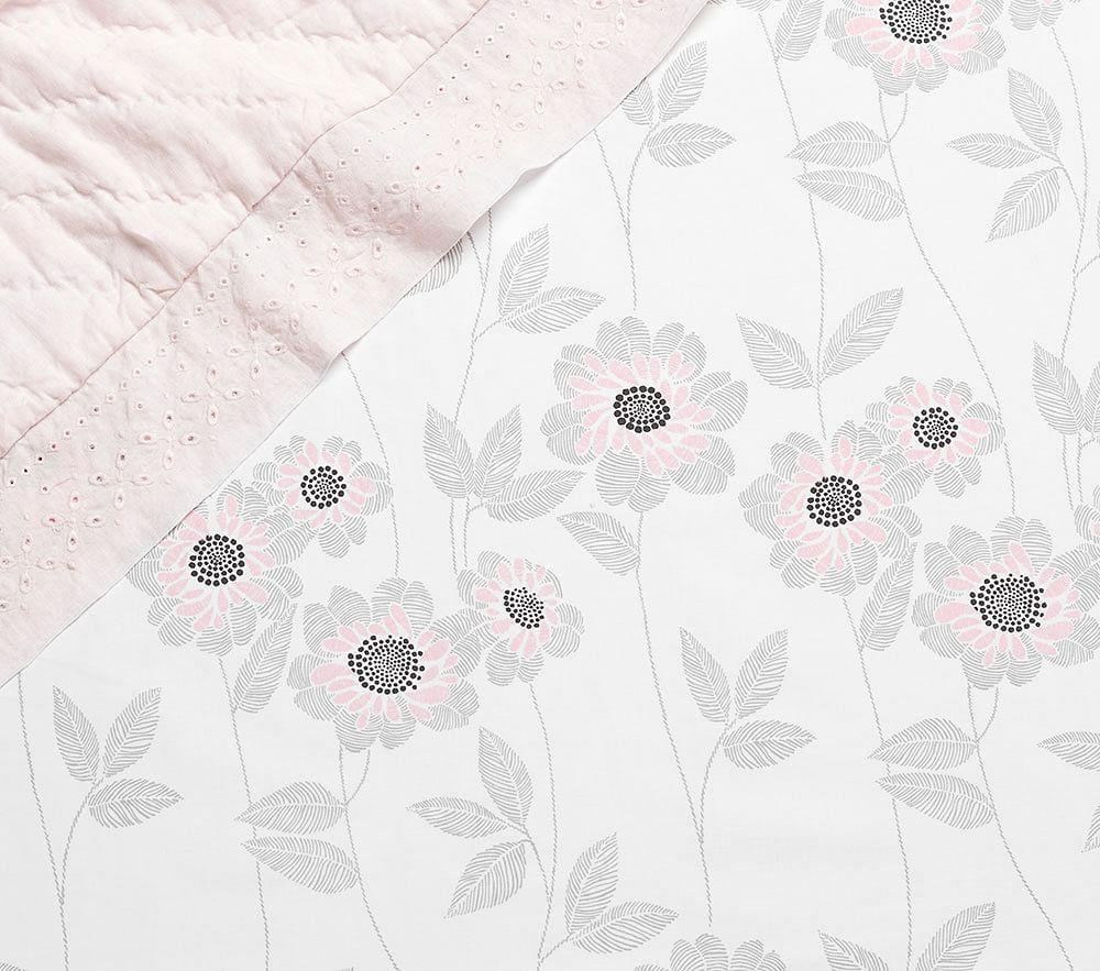 Organic Sateen Adelaide Blush Floral Cot Fitted Sheet