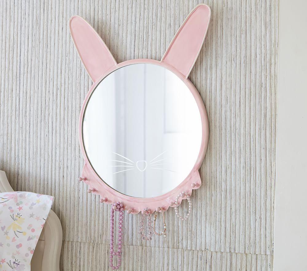 Pink Ceramic Bunny Mirror