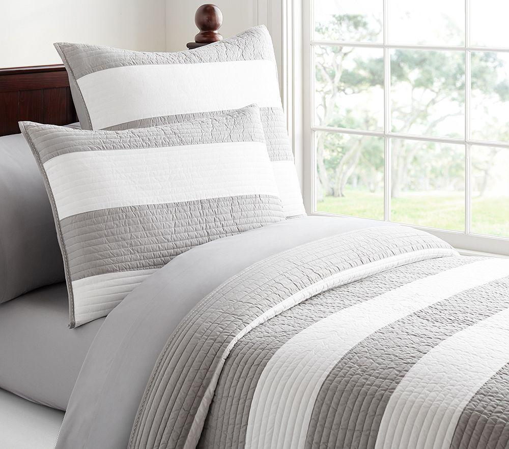 Gray White Quilt : Rugby stripe quilted bedding pottery barn kids